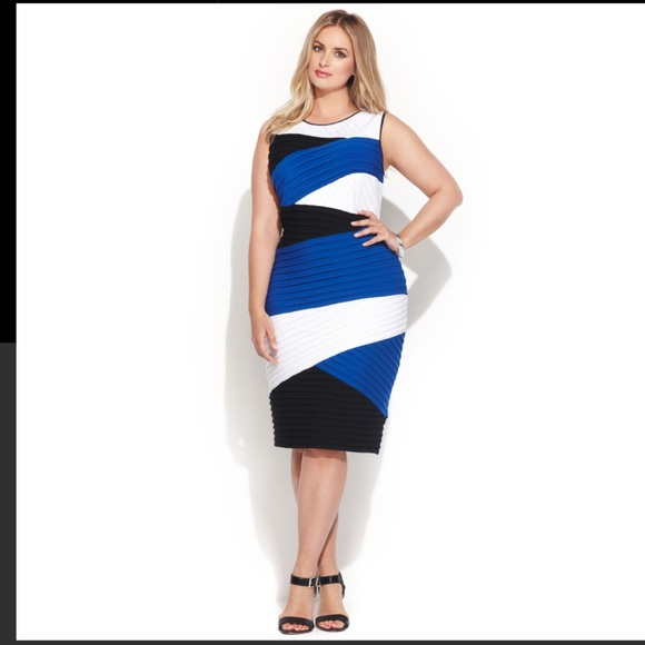 Calvin Klein Dresses Multicolor Plussize Colorblock Shutterpleat