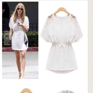cotton white tunic/ mini dress-floral eyelet lace