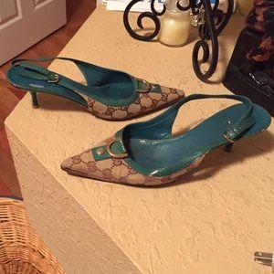 Gucci print heels