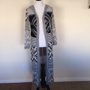 Tribal hooded cardigan