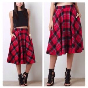 Red Black Plaid Midi Skater Skirt