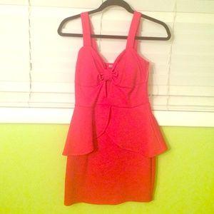 Red Peplum Cutout Dress