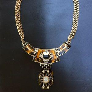Tortoiseshell Statement Fashion Necklace