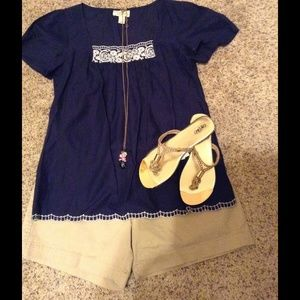Ann Taylor Loft Summer Top- Navy Blue~XS So Cute!!