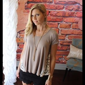 Taupe lace side top