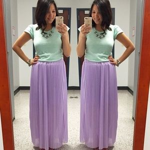 Lavender Maxi Pleaded Skirt