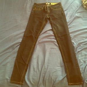 Dark blue jean straight leg pants