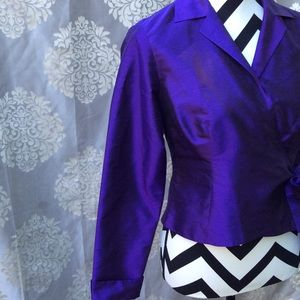 Lord & Taylor Purple 100% Silk Wrap Top Size 6