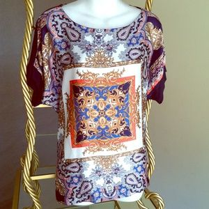 New French scarf print top