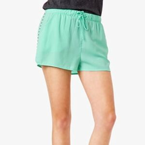 Forever 21 mint green/ silver studded silk shorts