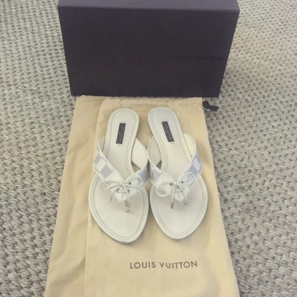 30958e65503 Louis Vuitton Shoes - 💯✓ Louis Vuitton Damier Azur sandals slides 37