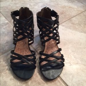 Shoes - Black Wedge Gladiator Sandals