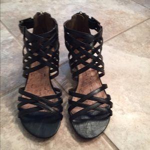Black Wedge Gladiator Sandals
