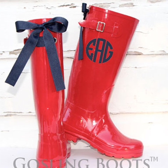 Gosling Boots with Bows - Cherry Red Rain Boots with Bows & Custom ...