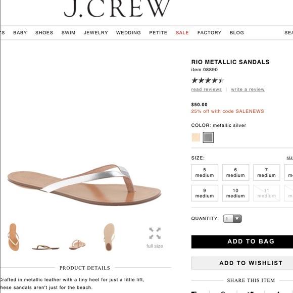 93b5ee52436ef J. Crew Shoes - RIO METALLIC SILVER J.CREW SANDALS