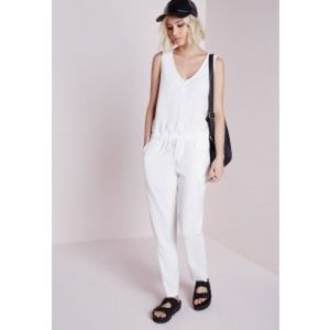 Zip front sleeveless jumpsuit size S