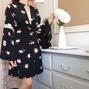 Black Bohemian Chic Floral Dress