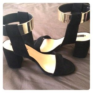 Zara black suede sandals with gold ankle strap