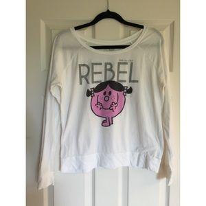 Little Miss Tops - Little Miss Rebel white long sleeve shirt