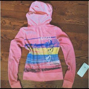 Juicy couture pink coral velour hoodie tack jacket