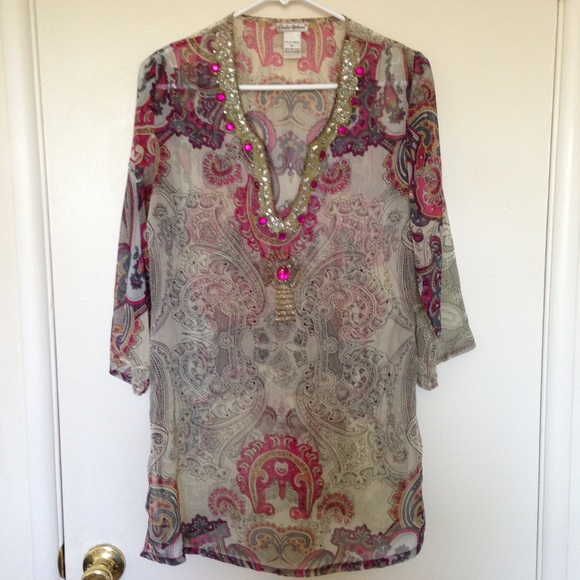 Tops - Indian Embroidered Sequins Top