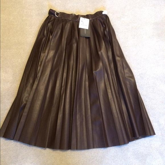 43 zara dresses skirts zara brown faux leather