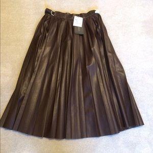 Zara Brown Faux Leather Midi Skirt