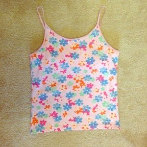 Gap Flower Tank Top, built in bra, kids XXL