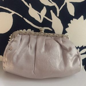 Silver evening clutch with chain shoulder strap