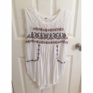 Free People White Tank with Multicolored Detailing
