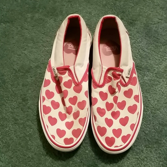 69 Off Vans Shoes Red Heart Slip On Vans Womens Size 9