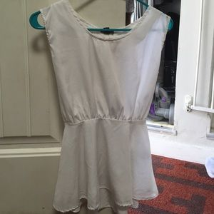 White Peplum Top with open back