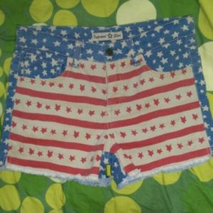 Boutique Pants - 4th of July American flag raw cut denim shorts|NWT