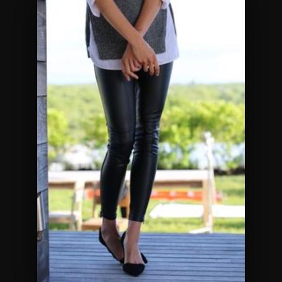 9fc7cc02051247 Banana Republic Pants | Sloan Fit Faux Leather Front Leggings | Poshmark