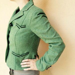 The Limited Green Herringbone Tweed Blazer Jacket
