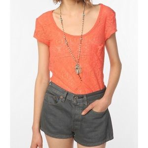 Urban Outfitters Coral Lace Top