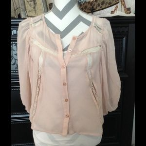 Blush pink blouse with lace detail