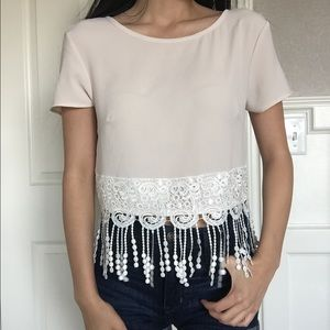 Tops - SOLD NWT Cute Beige Fringe Cropped Top