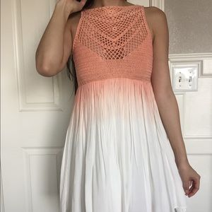 SOLD NWT Crochet Peach and White Ombré Dress