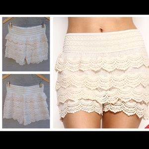 tavoosfashion Other - Beige Crotchet lace Shorts