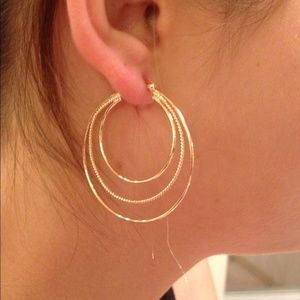Jewelry - Gold Plated Triple Row Twisted Rope Hoop Earrings