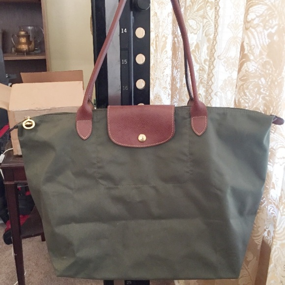 8c12af179224 Longchamp Handbags - Longchamp Le Pliage Large Long Handle Olive Green