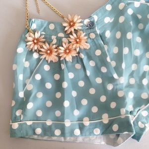 Polka Dot Blue Summer Shorts