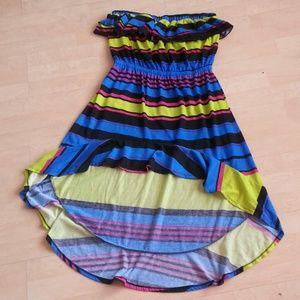 Dresses & Skirts - Hi low strapless multi color dress