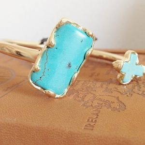 NWT Turquoise Cross Gold Bangle
