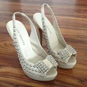 Sling Back Open Toe Spiked Pumps