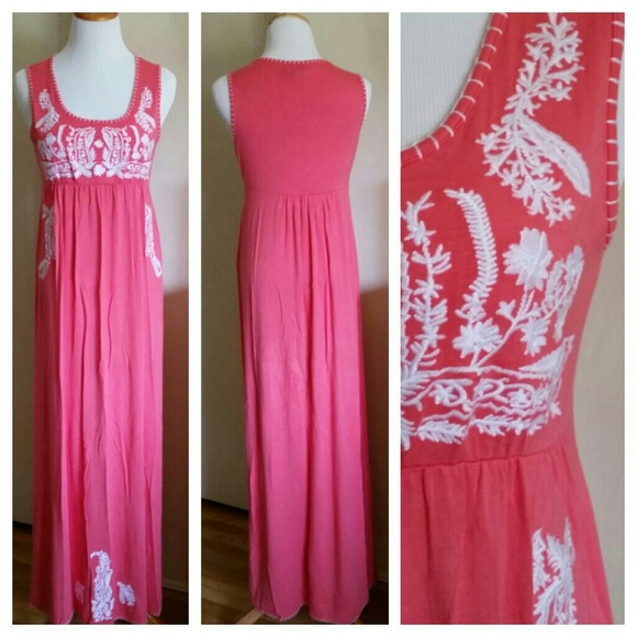 Chelsea Theodore Dresses Mexican Embroidery Coral Pink Floral