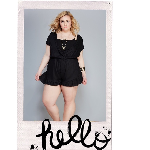 Wet Seal Dresses | Black Plus Size Ruffled Hem Surplice Romper 3x ...