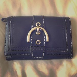 Coach leather buckle wallet