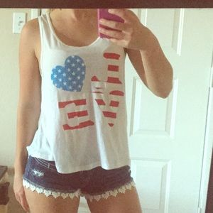 White graphic tank top/ muscle tank